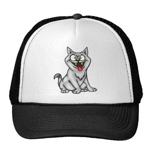 Gato bizco gris del dibujo animado gorros