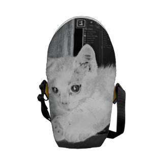 Gato blanco adorable elegante monocromático bolsas messenger
