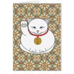 Gato blanco afortunado tarjeta