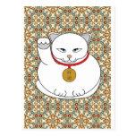 Gato blanco afortunado tarjetas postales