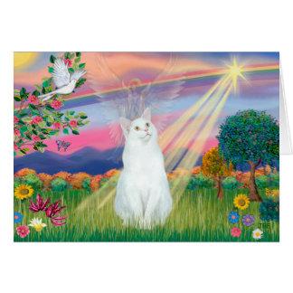 Gato blanco - ángel de la nube tarjeta