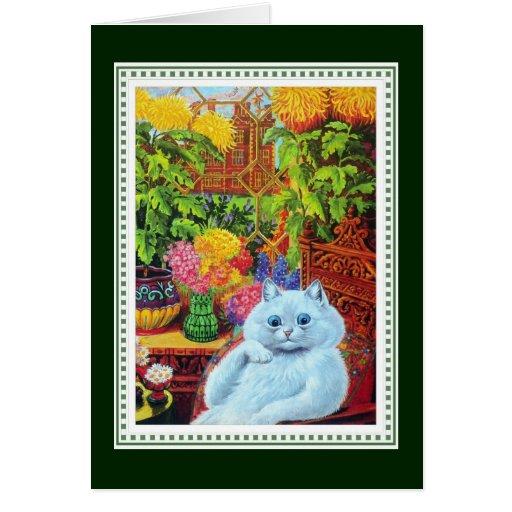 Gato blanco antropomorfo enmarcado por las flores  felicitación