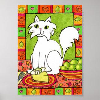 Gato blanco con arte popular de la empanada de la póster