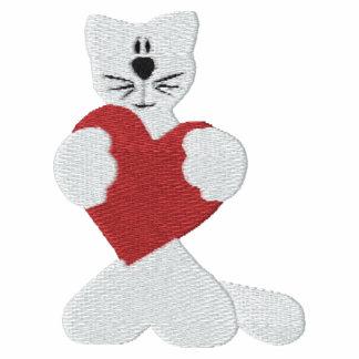 Gato blanco con bordado rojo de la tarjeta del día polo t-shirt