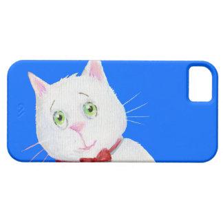 Gato blanco con el arco rojo - caso del iPhone 5 iPhone 5 Carcasas