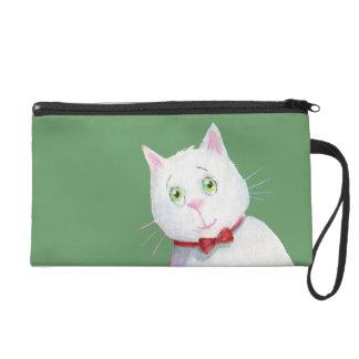Gato blanco con el arco rojo - mitón