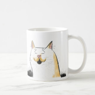 Gato blanco con el bigote grande del manillar taza clásica