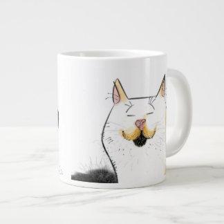 Gato blanco con el bigote grande del manillar taza de café gigante