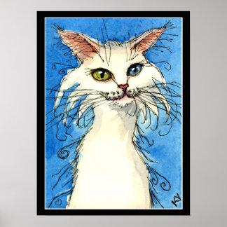 Gato blanco con el poster impar de los ojos