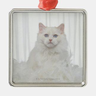 Gato blanco con las plumas ornaments para arbol de navidad