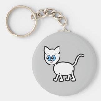 Gato blanco con los ojos azules llavero redondo tipo pin