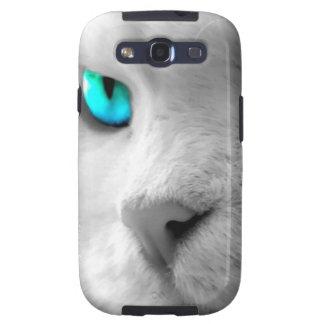 Gato blanco con los ojos azulverdes galaxy SIII protectores