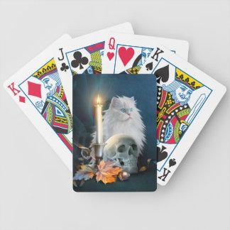 Gato blanco de Halloween Cartas De Juego