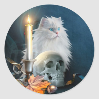 Gato blanco de Halloween Pegatina Redonda