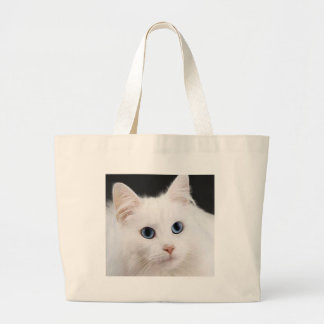 Gato blanco de ojos azules bolsa de mano
