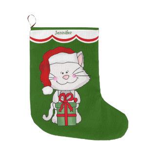 Gato blanco del gatito bota navideña grande