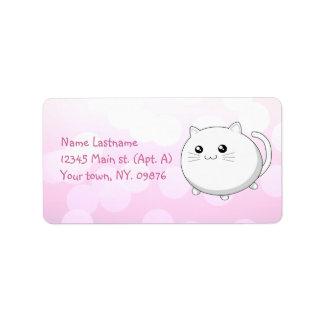 Gato blanco del gatito del kawaii lindo etiquetas de dirección