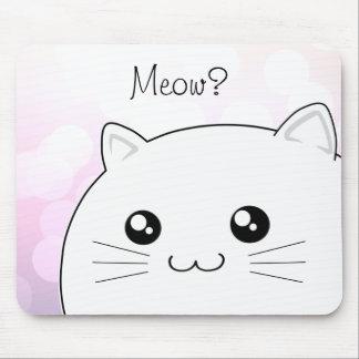Gato blanco del gatito del kawaii lindo mouse pads