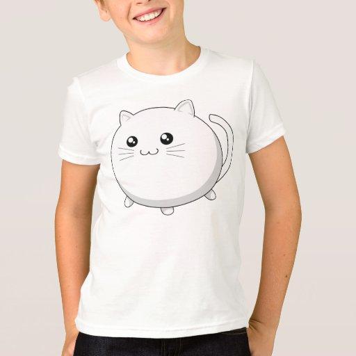 Gato blanco del gatito del kawaii lindo playera
