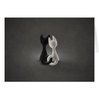 Gato blanco del gato negro color 2 felicitación