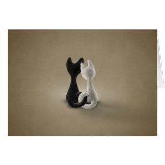Gato blanco del gato negro (color 3) tarjeta de felicitación