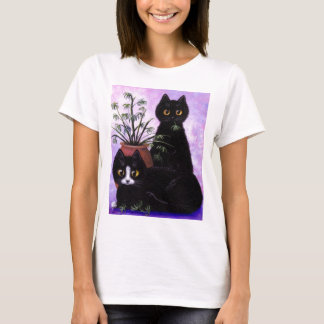 Gato blanco del negro lindo de la camiseta por