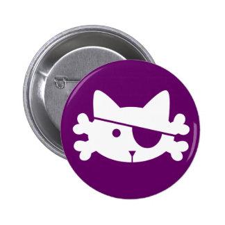 Gato blanco del pirata - botón pin redondo de 2 pulgadas