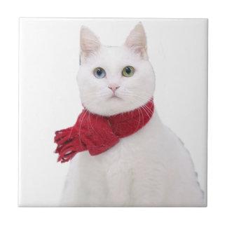 Gato blanco en bufanda roja azulejo ceramica