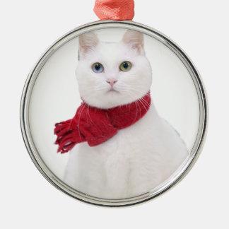 Gato blanco en bufanda roja ornamentos de reyes