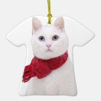 Gato blanco en bufanda roja adorno para reyes