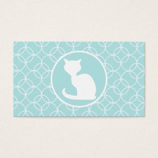 Gato blanco en círculos de los azules cielos tarjetas de visita
