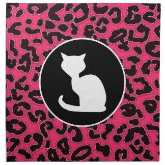 Gato blanco en estampado leopardo de las rosas fue servilleta