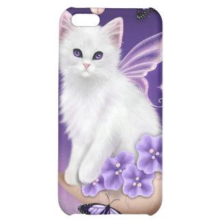 Gato blanco en la caja púrpura del iPhone 4 de las