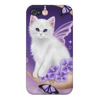 Gato blanco en la caja púrpura del iPhone 4 de las iPhone 4 Protectores