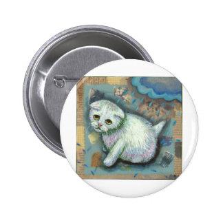 Gato blanco en la lluvia pin