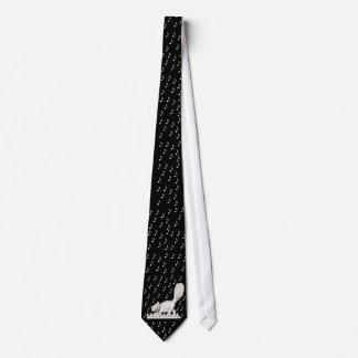 Gato blanco en llaves del piano corbatas personalizadas