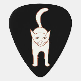 Gato blanco en púas de guitarra negras plectro