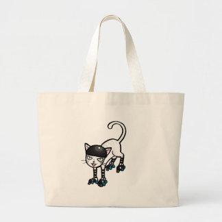 Gato blanco en rollerskates bolsa tela grande