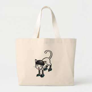 Gato blanco en rollerskates bolsas de mano