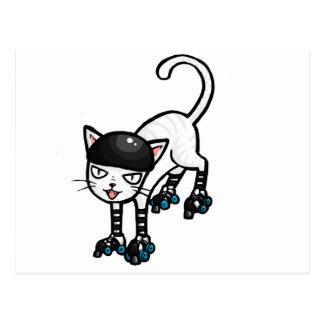 Gato blanco en rollerskates postales