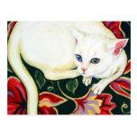 Gato blanco en un amortiguador postal
