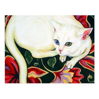 Gato blanco en un amortiguador tarjetas postales