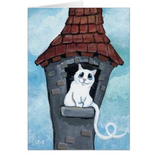 Gato blanco en una tarjeta de la torre del cuento