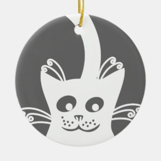 Gato blanco feliz adorno navideño redondo de cerámica