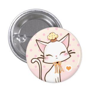 Gato blanco lindo de Kawaii con la magdalena Pin Redondo De 1 Pulgada