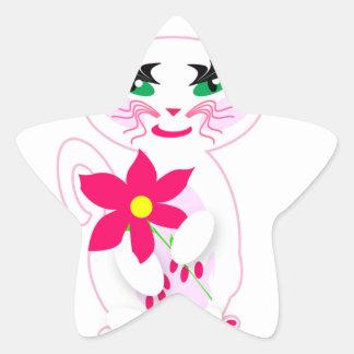 Gato blanco lindo del gatito con los productos de calcomanía forma de estrella personalizadas