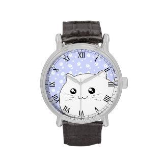 Gato blanco lindo del gatito de Kawaii con el Relojes De Mano