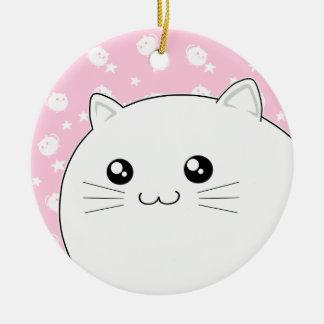 Gato blanco lindo del gatito de Kawaii Ornamento Para Reyes Magos