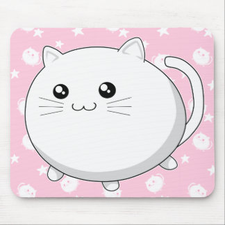 Gato blanco lindo del gatito de Kawaii Mousepad