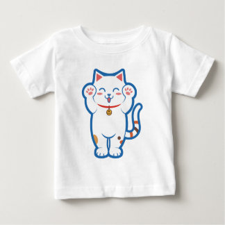 Gato blanco lindo playera de bebé